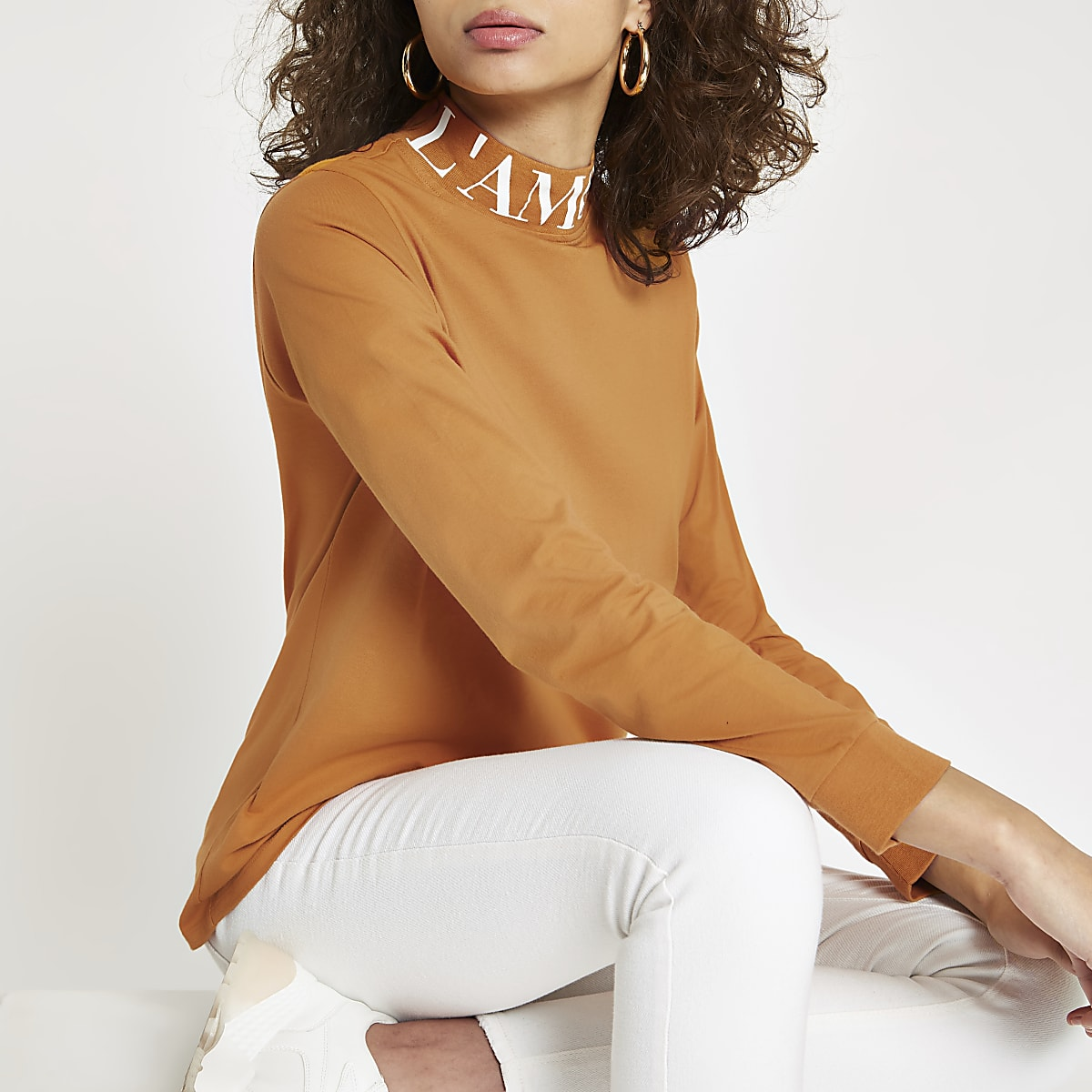 Brown 'L'amour' high neck long sleeve top