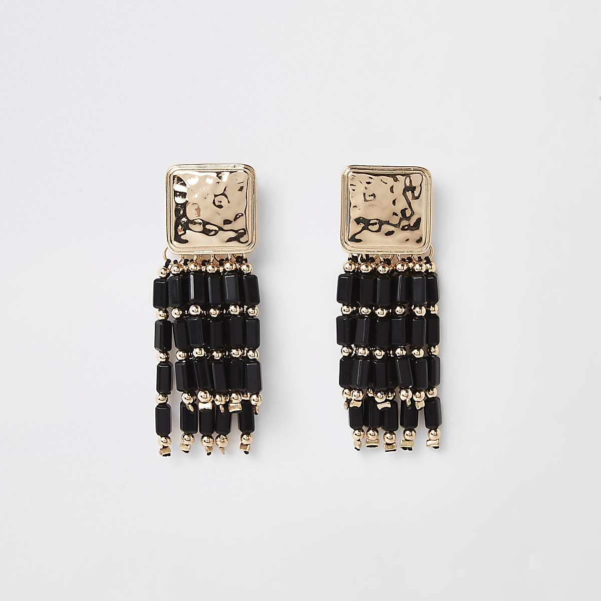 Black bead drop earrings