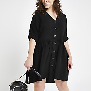 Plus black button front swing dress