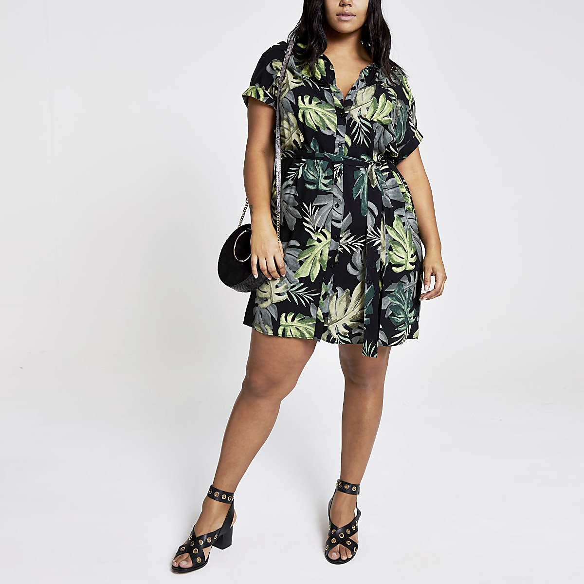 Plus green palm print shirt dress