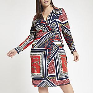 Plus – Robe portefeuille imprimée rouge