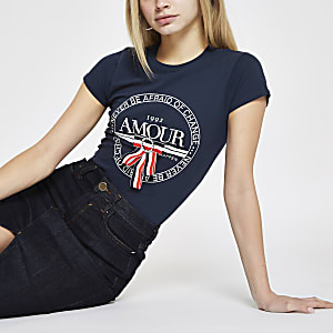 Navy 'Amour' bow trim T-shirt
