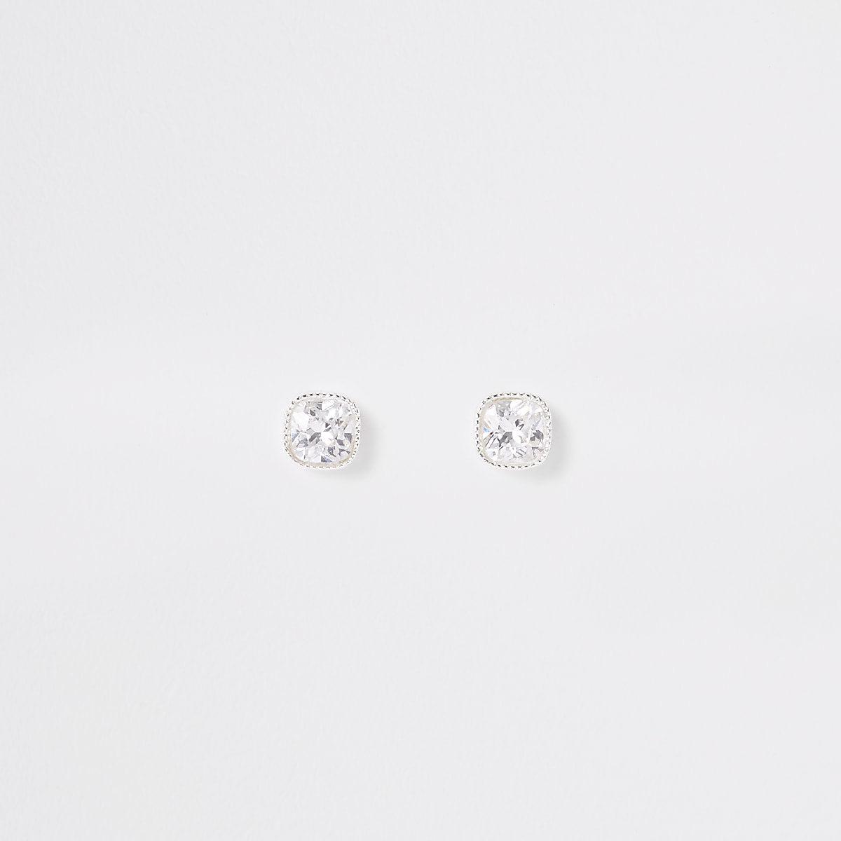Silver plated cubic zirconia square earrings