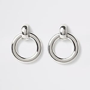 Silver colour door knocker hoop earrings
