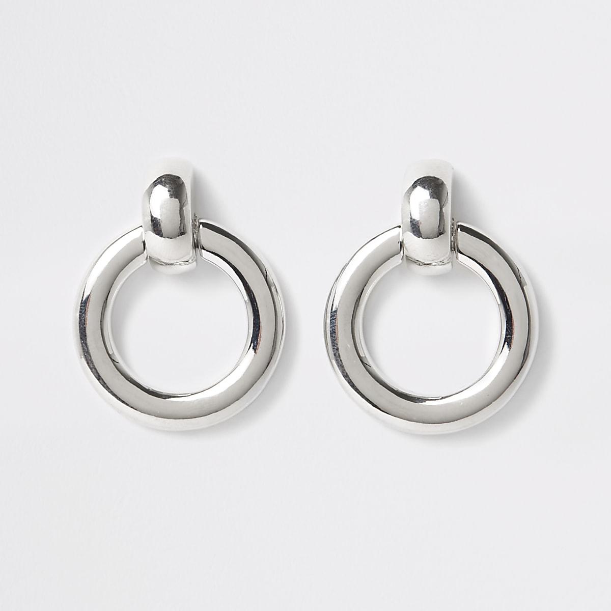 Silver colour door knocker hoop earrings
