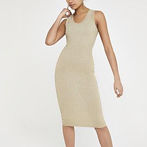 364309d900 Metallic gold knitted midi dress