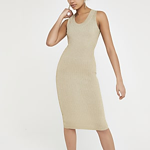 Metallic goudkleurige gebreide midi-jurk