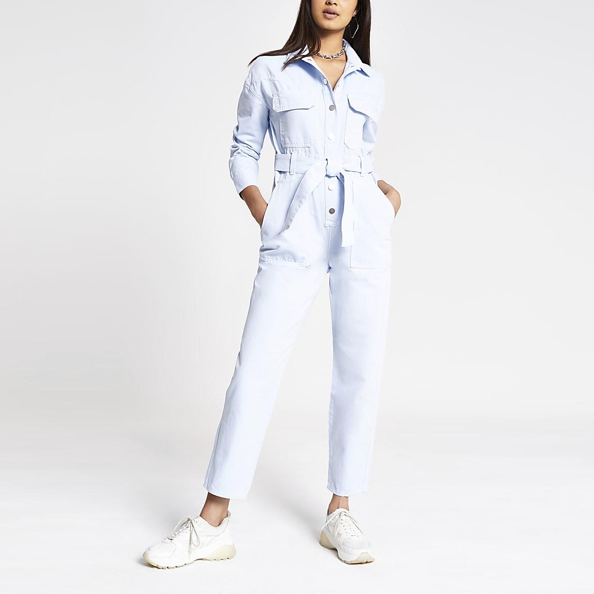 Light blue denim utility jumpsuit