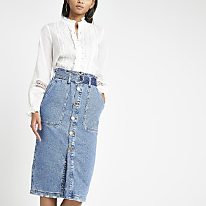 Blue utility denim midi skirt