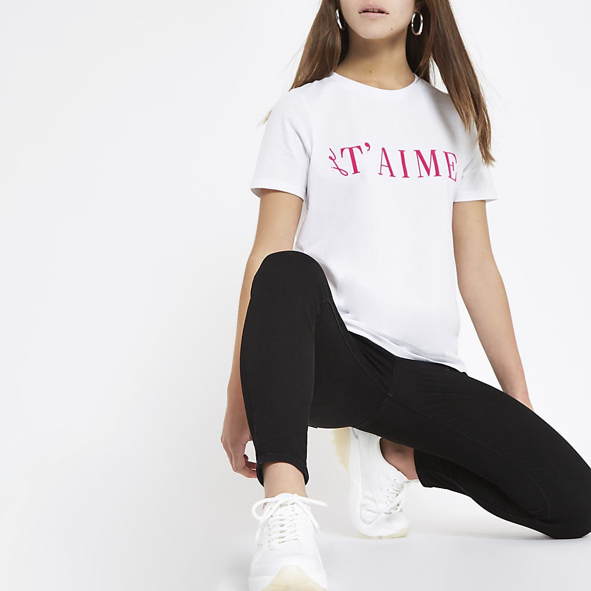 Petite white 'T'aime' print T-shirt