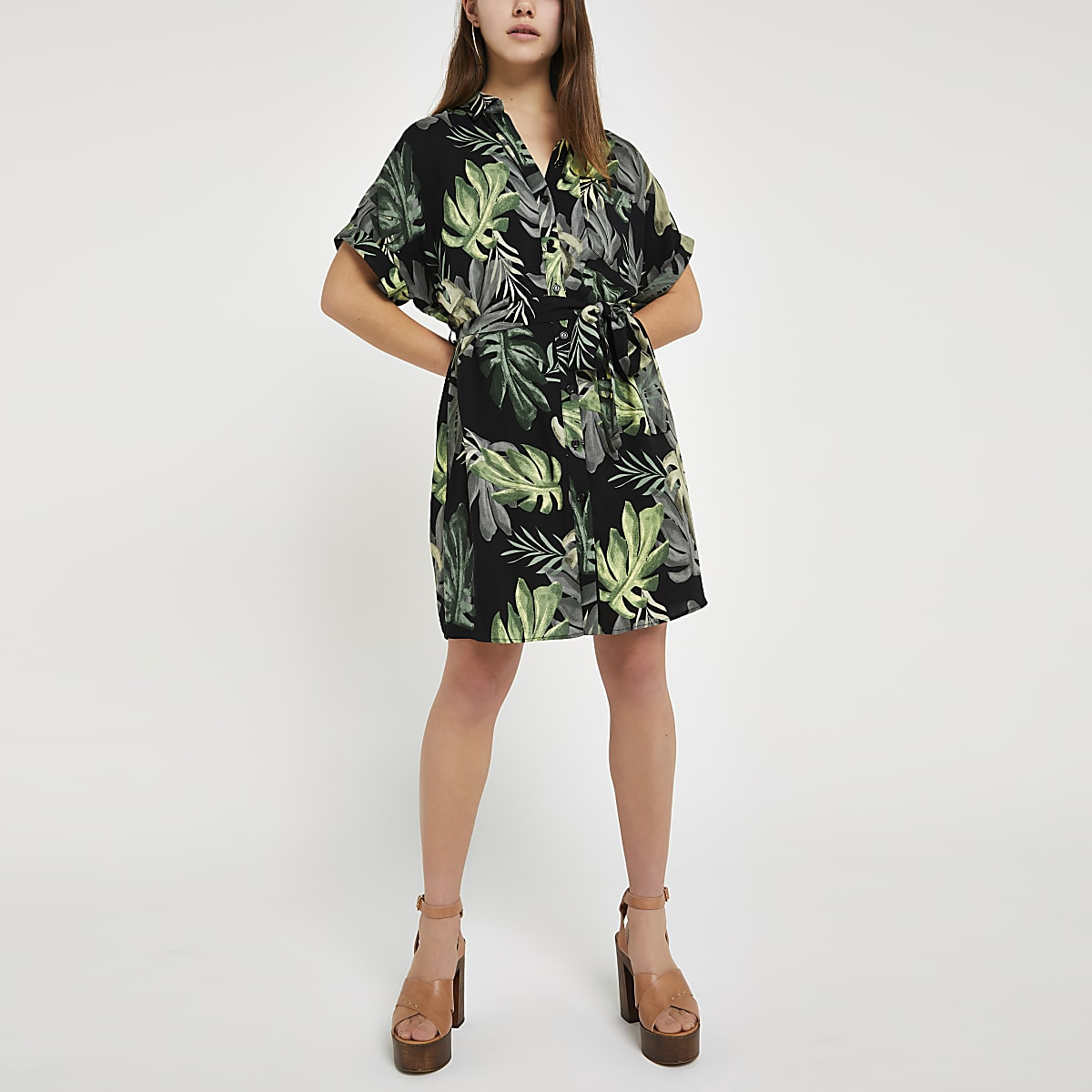 Petite green palm print shirt dress