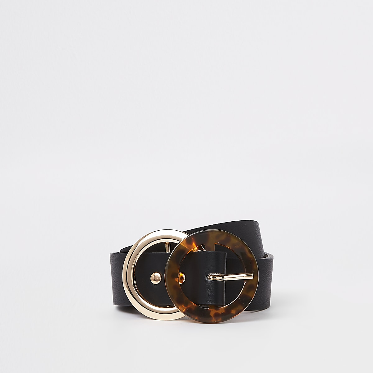 Black faux leather tortoise ring belt