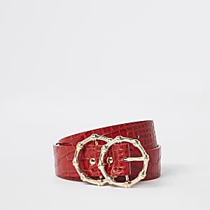 Rode riem met krokodillenprint en dubbele ring