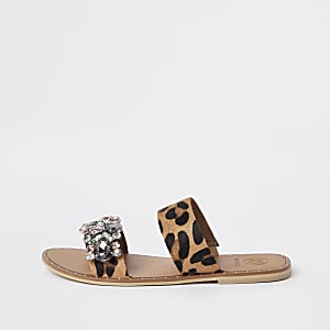 Brown leather leopard print gem flat mules