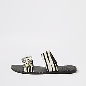 Black leather zebra print gem flat mules