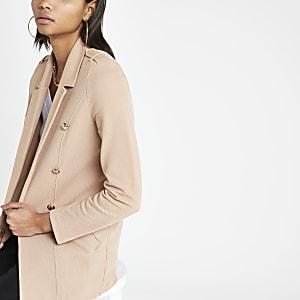 Langer, beiger Jersey-Blazer