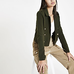 Khaki crop jersey blazer