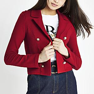 Roter, kurzer Jersey-Blazer