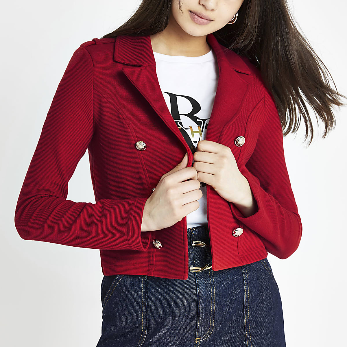 Red crop jersey blazer