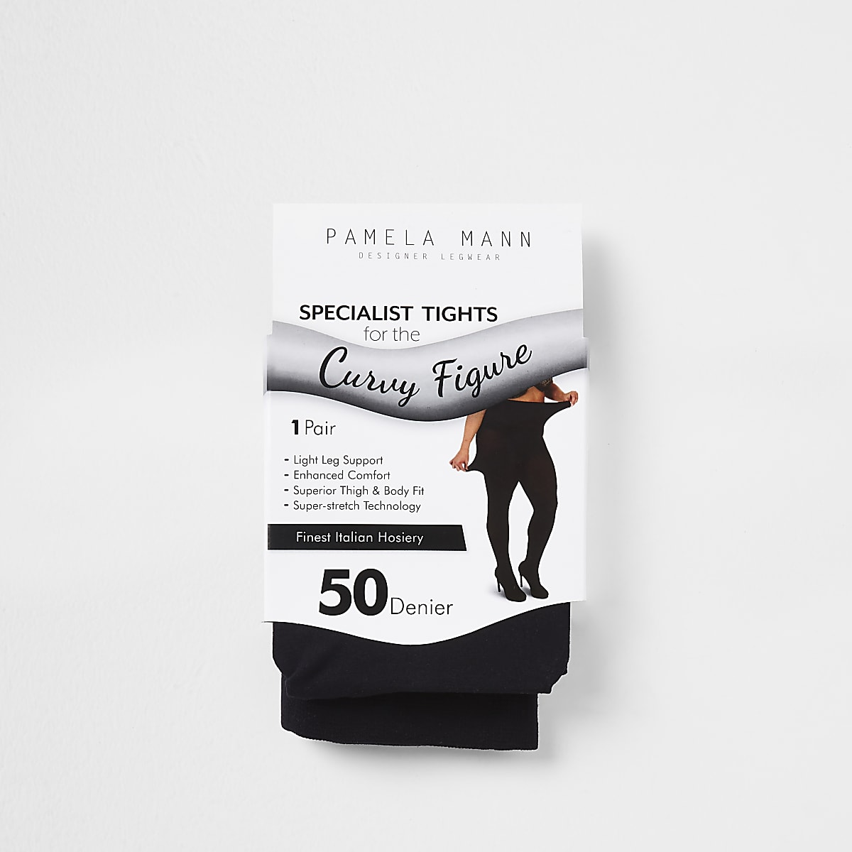 Schwarze Plus-Size-Strumpfhose, 50 Denier