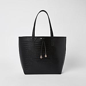 Zwarte tas met krokodillenprint in reliëf