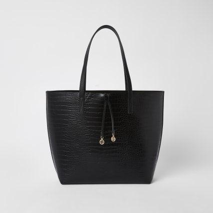 Black croc embossed bag