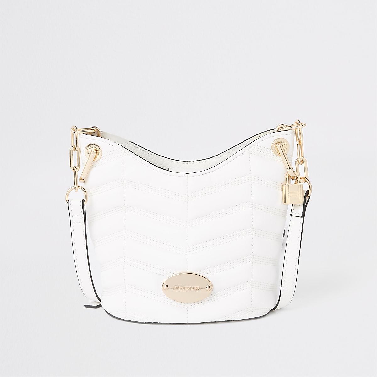 White cross body bucket bag