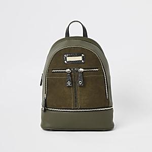 Khaki zip bottom backpack