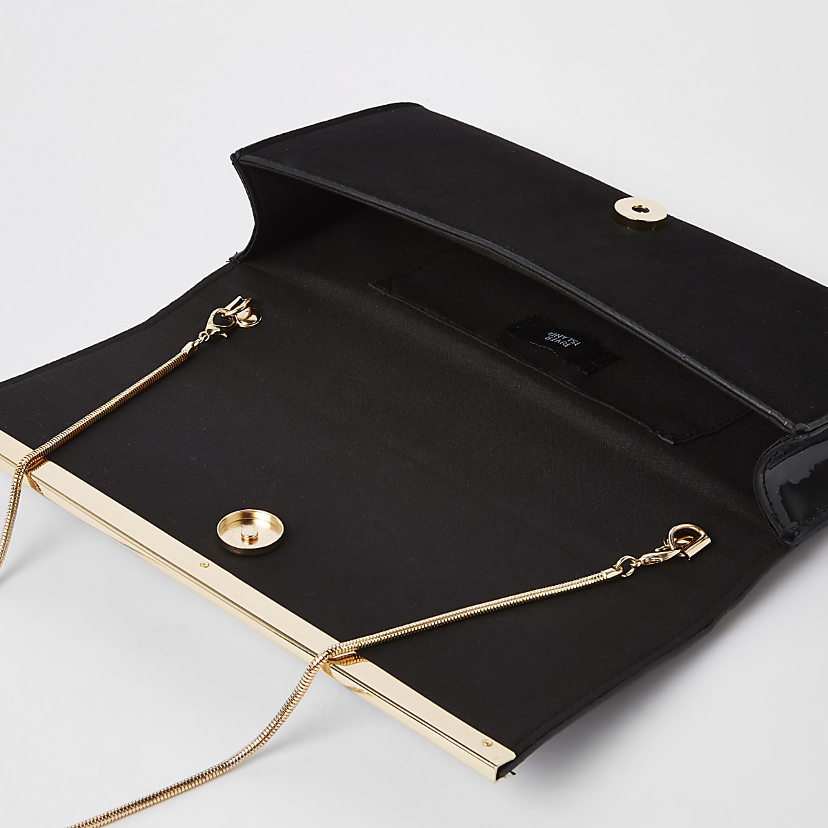 78e0ccacc Black faux suede croc embossed clutch bag - Clutch Bags - Bags ...