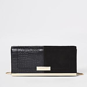 Black faux suede croc embossed clutch bag