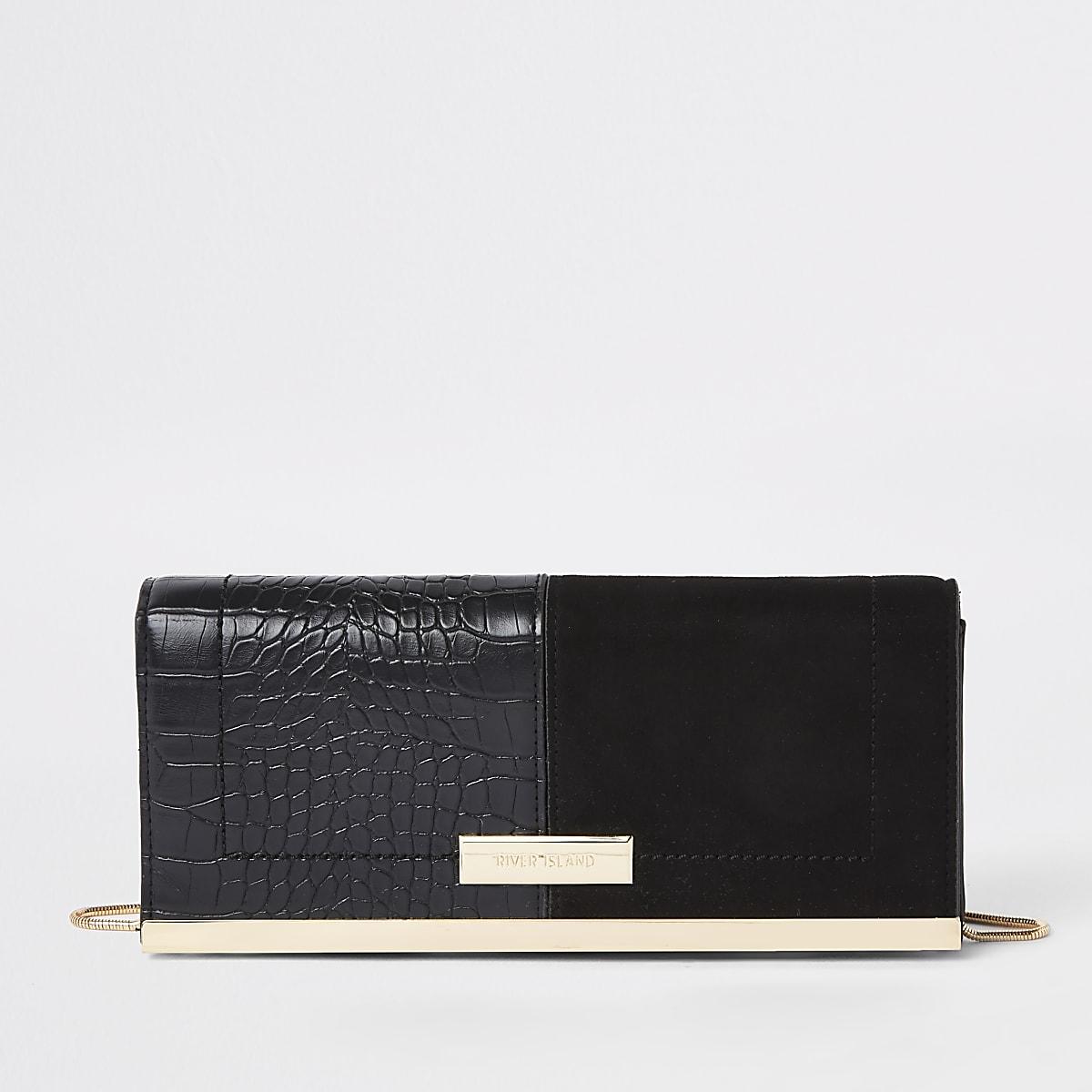 edbd46fca Black faux suede croc embossed clutch bag - Clutch Bags - Bags & Purses -  women