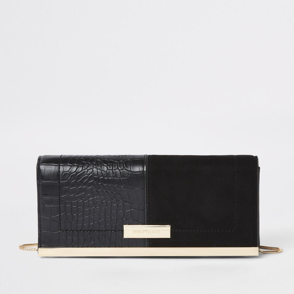 Zwarte clutch van imitatiesuède met krokodillenprint in reliëf