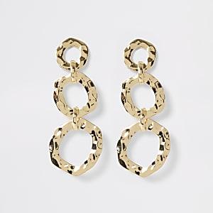 Gold colour battered triple drop earrings