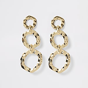Gold color battered triple drop earrings