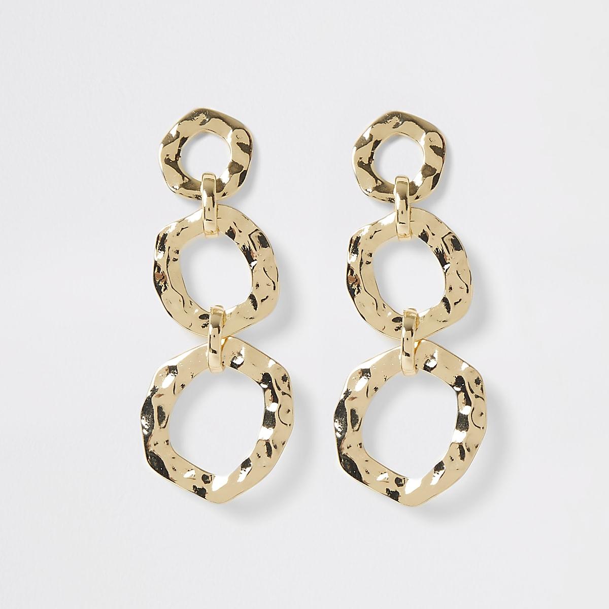 Gold color battered triple drop earrings