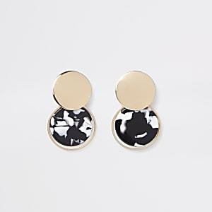 Zwarte oorhangers met monochrome print en cirkel
