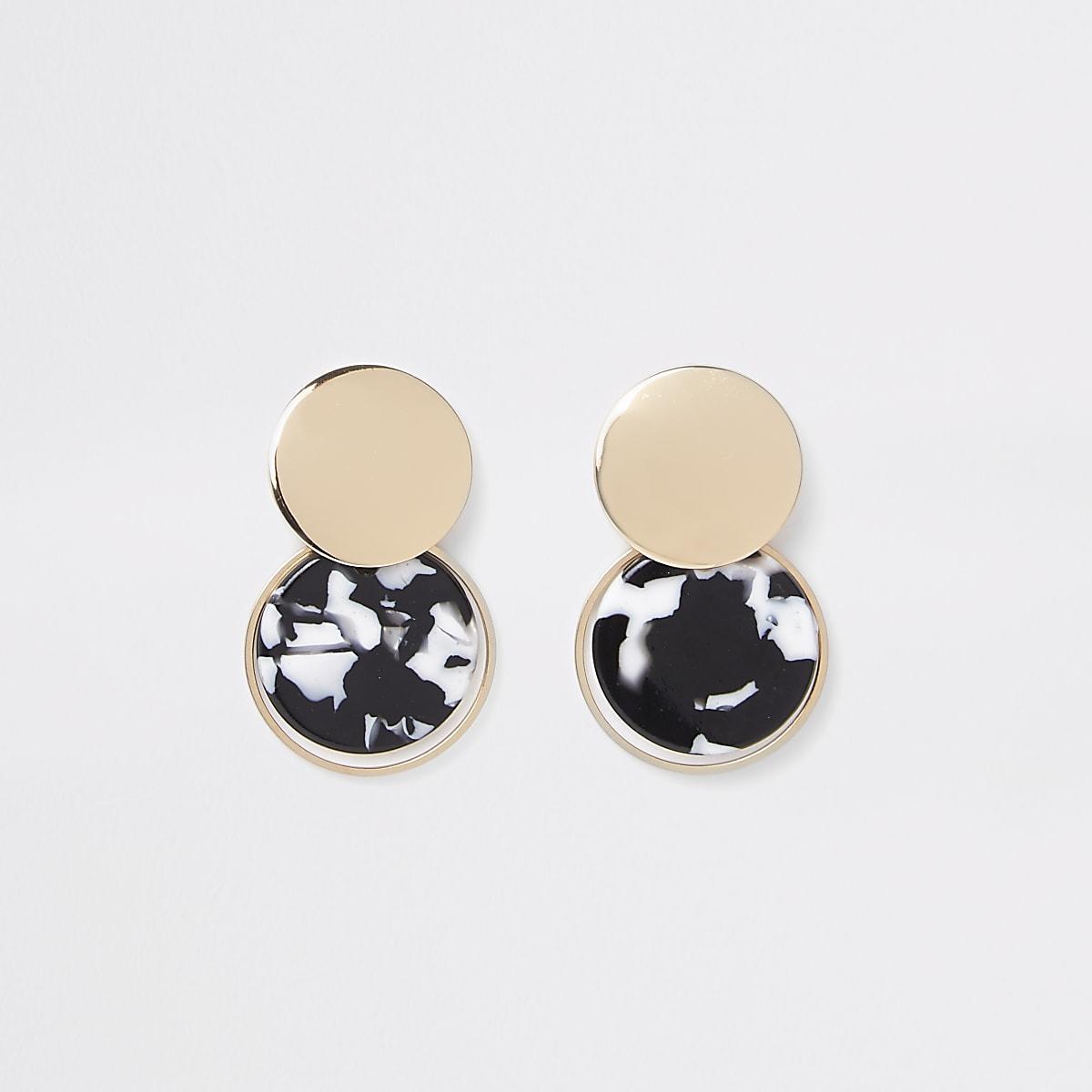 Black mono print circle drop earrings