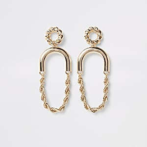 Gold color twist hoop drop earrings