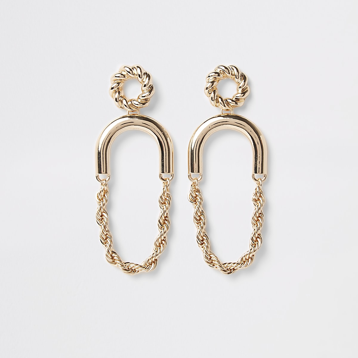 Gold colour twist hoop drop earrings