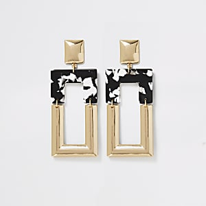 Gold color mono print square drop earrings