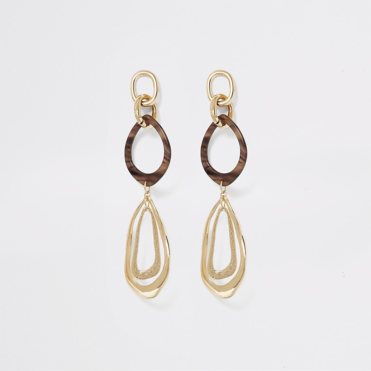 Gold color resin large drop down earrings