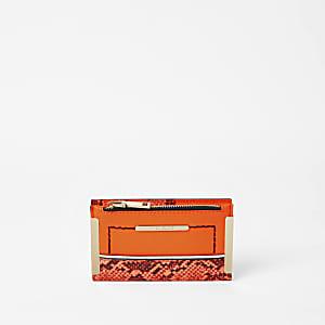 Mini-Geldbörse zum Falten in Schlangenlederoptik in Neonorange