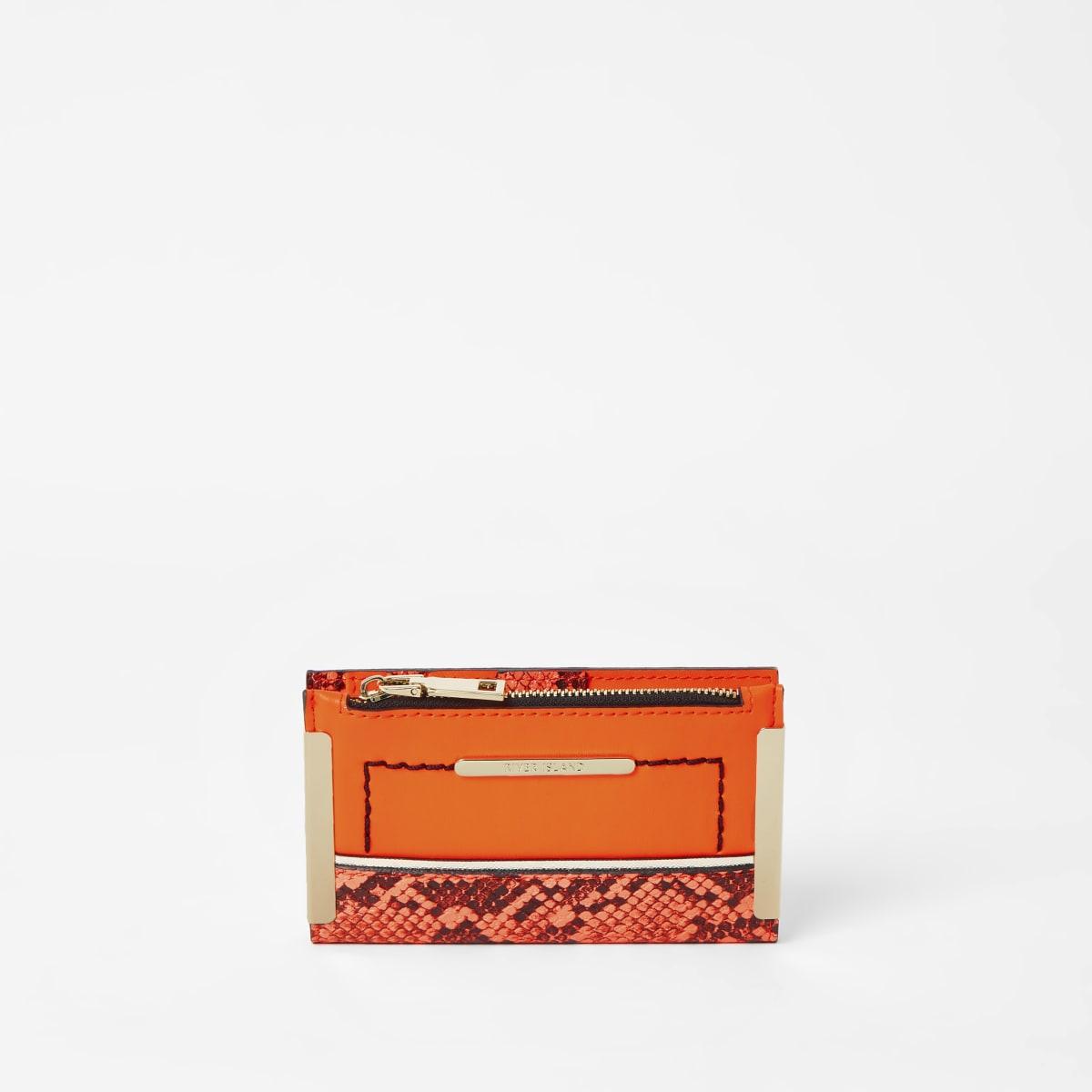 Neon orange snake print mini fold out purse