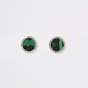 Green leopard print stud earrings