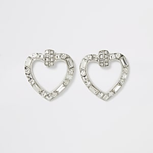 Silver color rhinestone heart earrings