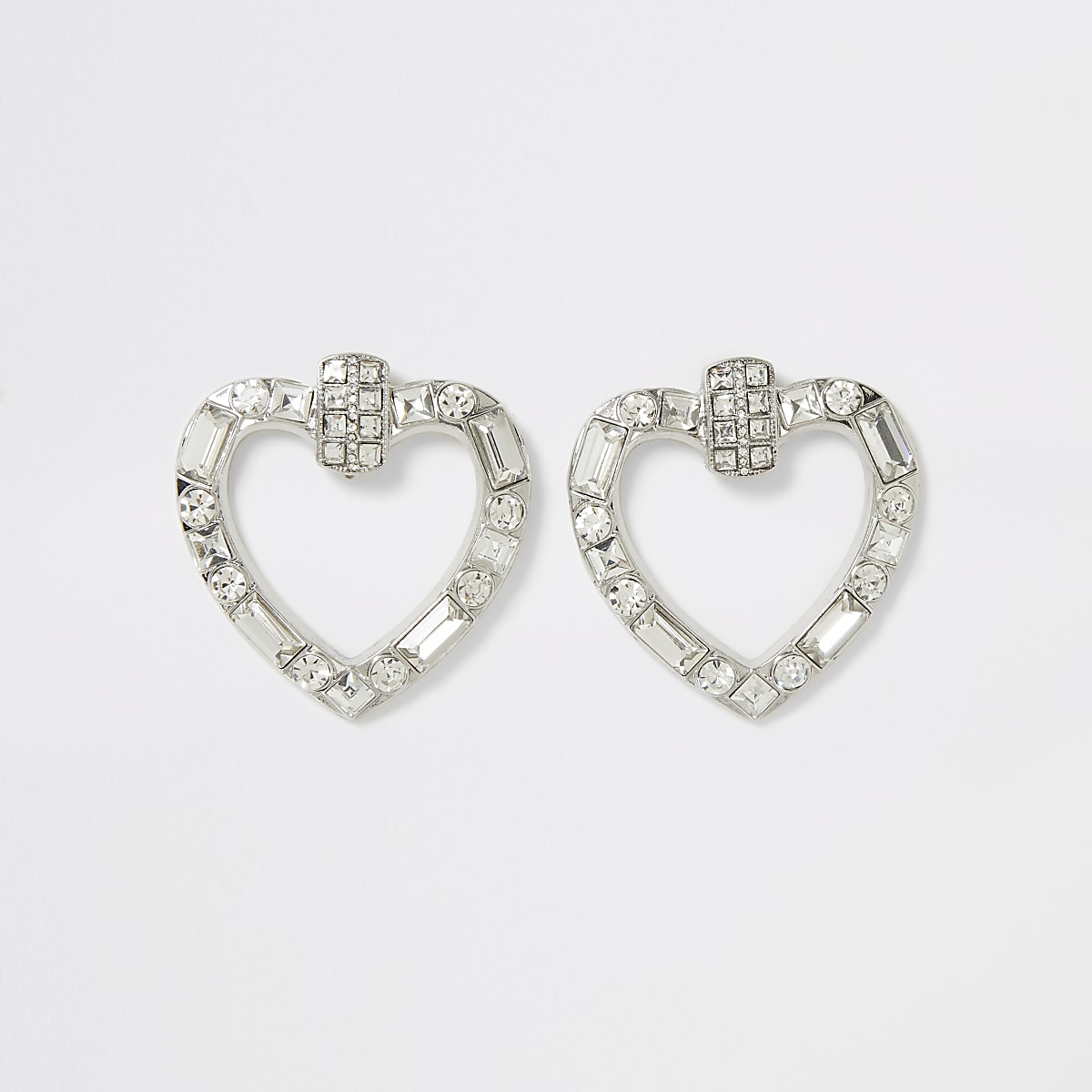 Silver colour diamante heart earrings
