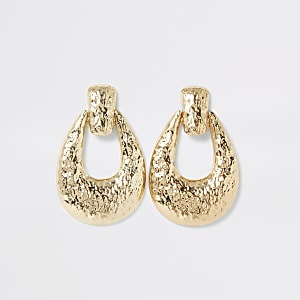 Gold colour textured doorknocker earrings