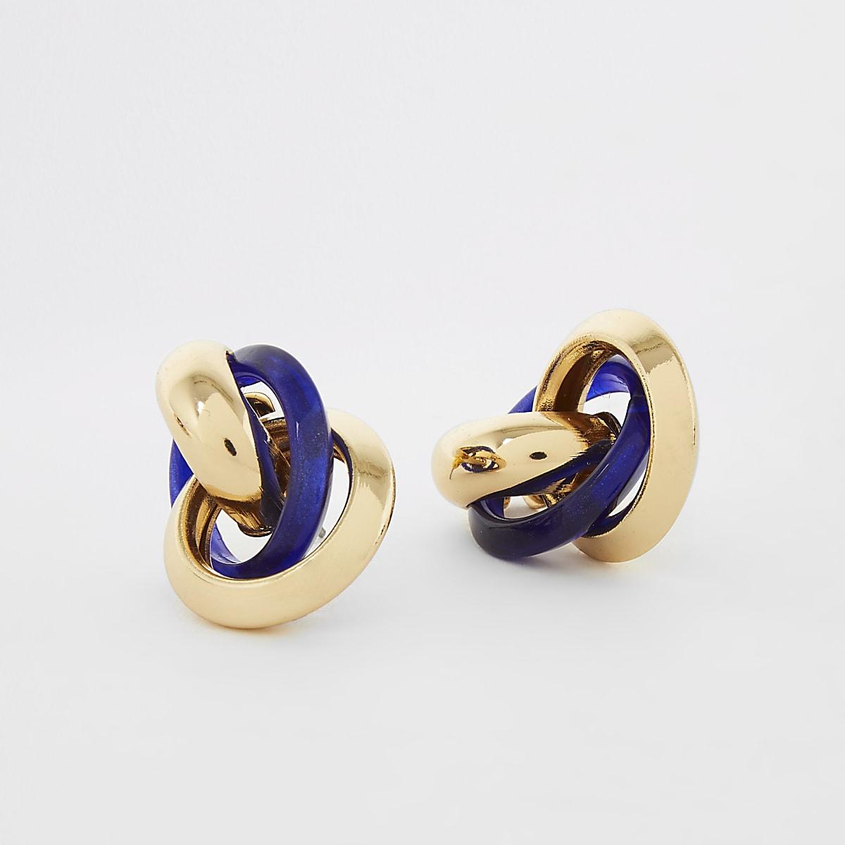 Blue resin twisted drop earrings