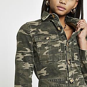 Robe chemise utilitaires en denim motif camouflage kaki