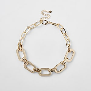 Gold colour rectangular chain necklace